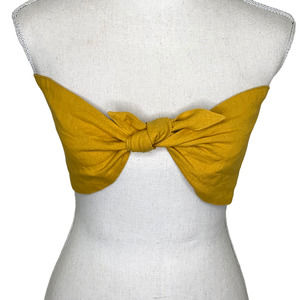 Perfect Stranger Linen Mustard Bandeau Top Cropped